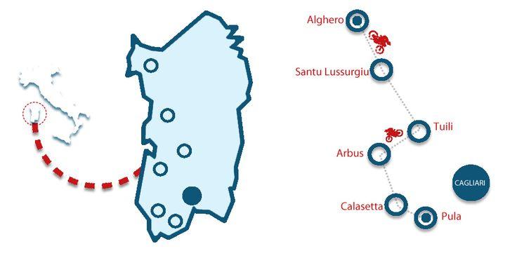 MAP CHALLENGING BIKE TOUR IN SARDINIA - ITALY- Con colori modificati