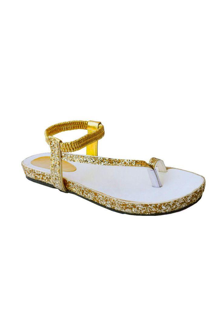 #golden #sandals #footwear #flats #online #shopping #gliterry #elasticstraps