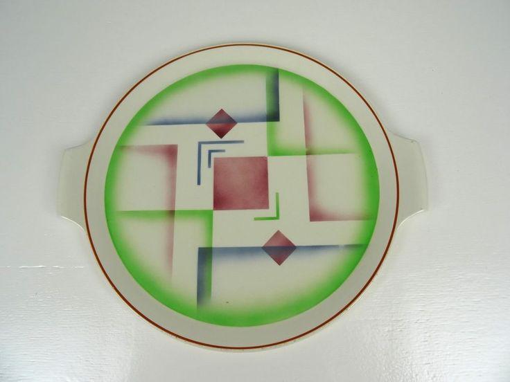 BAUHAUS DESIGN PLATE ABSTRACT SPRITZDEKOR GERMAN POTTERY CERAMIC GLAZE