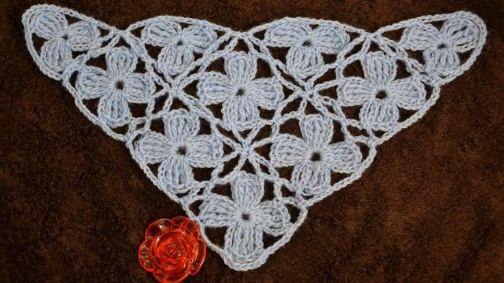 """Безотрывное вязание шали из цветочных мотивов. Shawl """"Blue turquoise"""""""