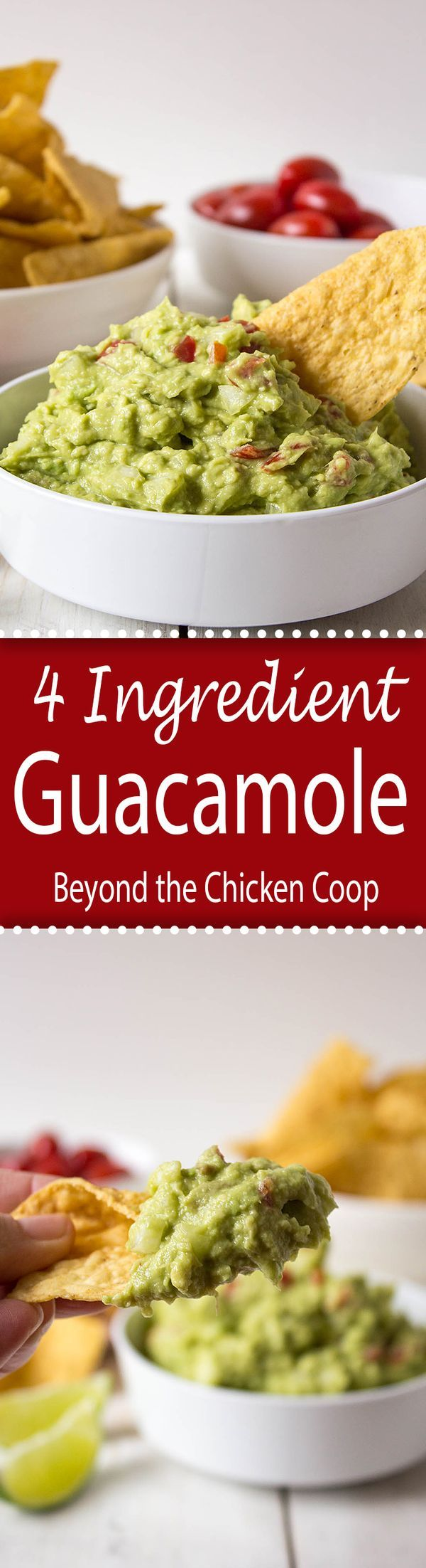 Homemade Guacamole Recipe - made with just four fresh ingredients!