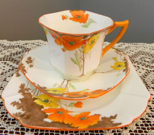 Shelley Trio Princess Shape Yellow AND Orange Poppies 12227 | C 1933 Beautiful