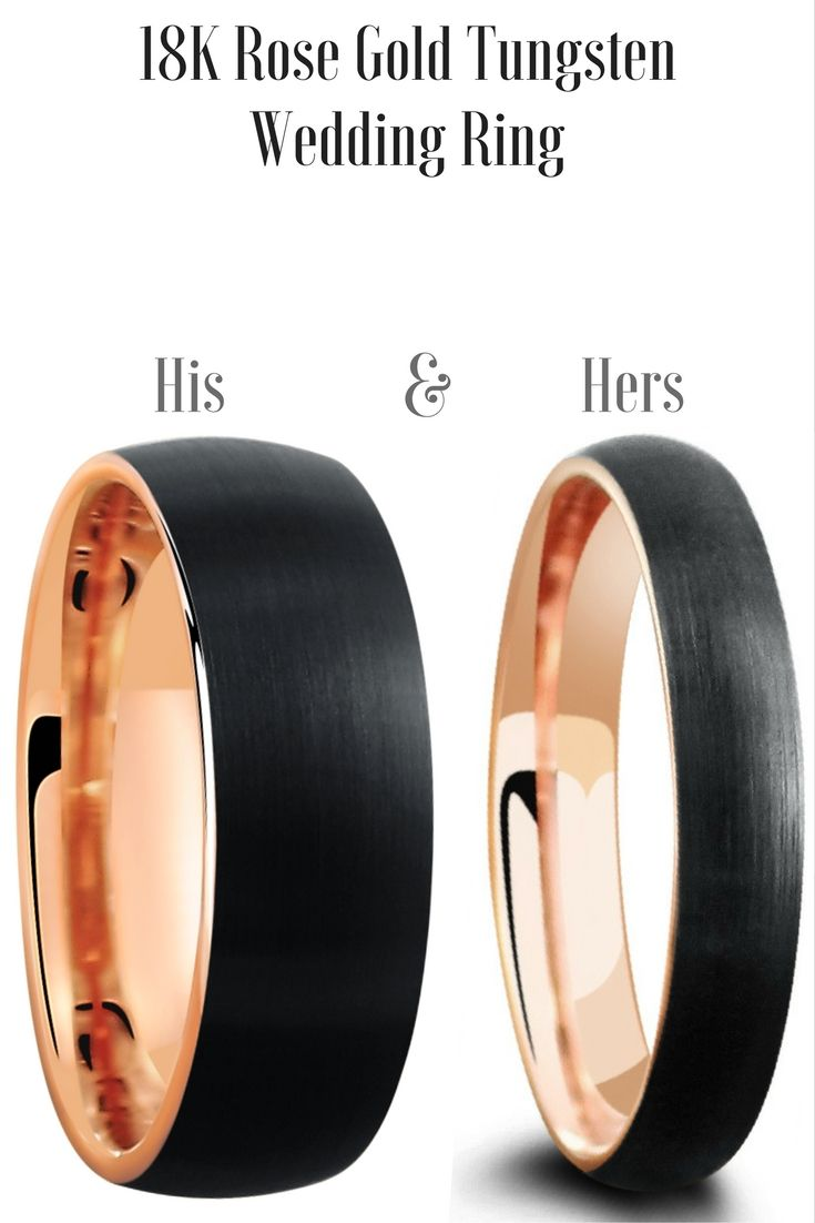 His And Hers Matching Wedding Band Set This Tungsten Wedding Ring Set Is  Crafted Out