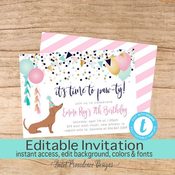Dog Birthday Invitation, Time to paw-ty Invitation, Editable Birthday invite, Girl Dog Invitation, Puppy, Instant Download by SweetProvidence on Etsy