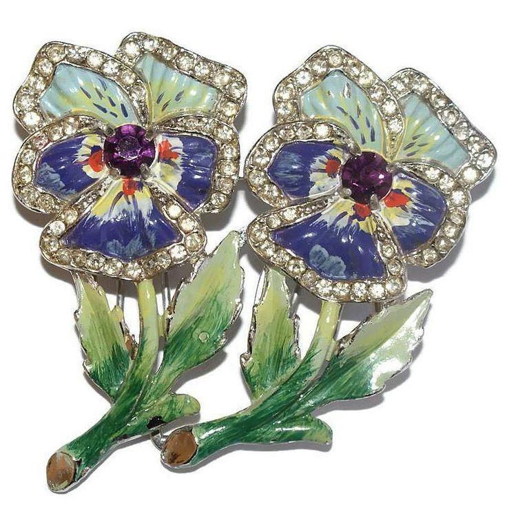Sold - Coro Floral Enamel Rhinestone Duette Pin 1940's Bk Pc