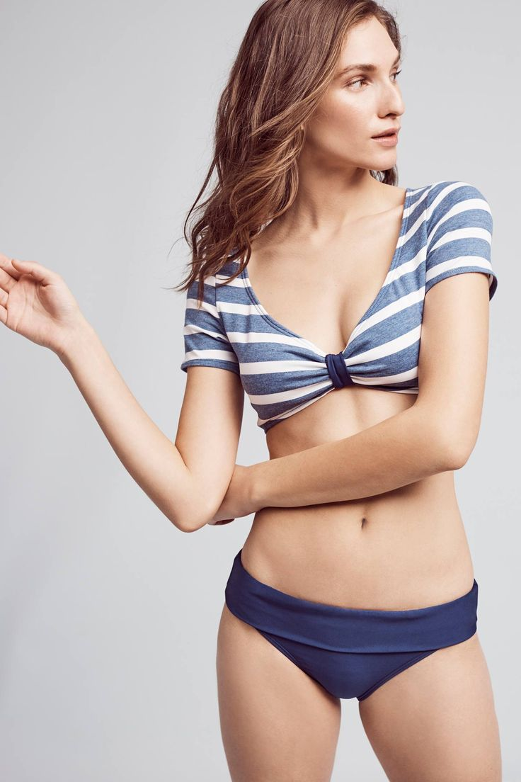 Slide View: 2: Splendid Cap-Sleeve Striped Bikini Top