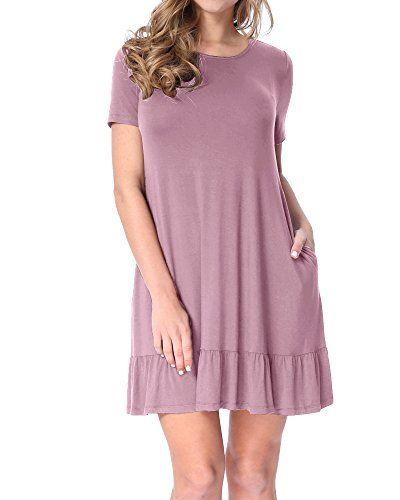 LAINAB Womens Summer Short Sleeve Loose Swing Casual Tunic Dress Grape Purple S - Big Sale Online Shopping USA