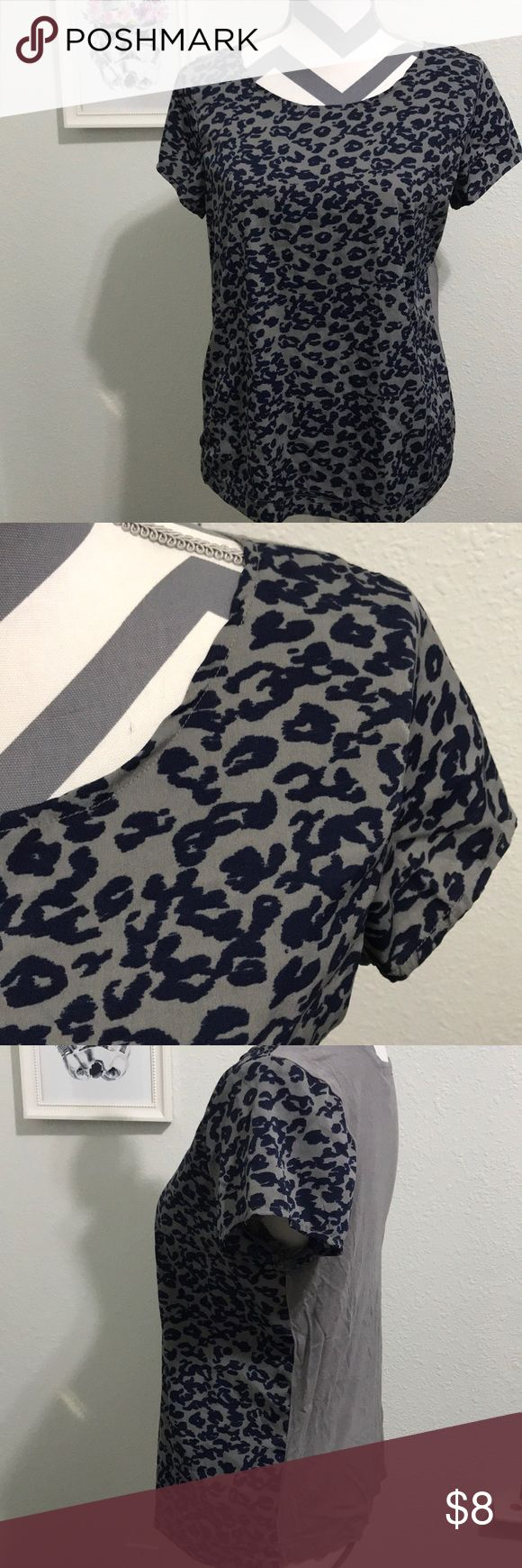 Leopard print top Super cute! Gap top! Gray & navy print leopard print markings. No stains, rips or holes. 100% Polyester GAP Tops Tees - Short Sleeve