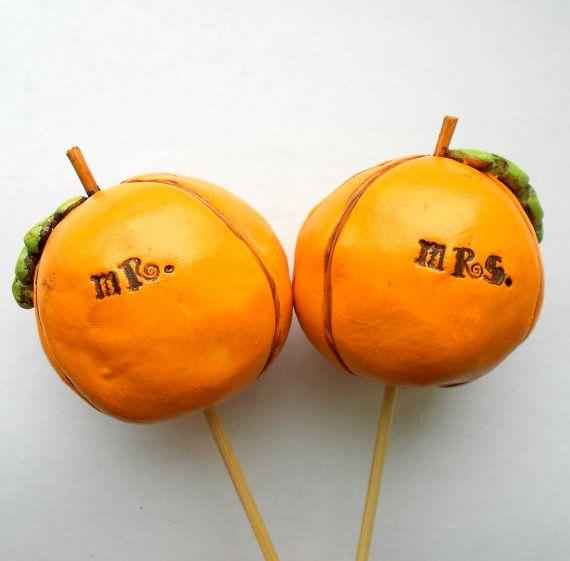 Fall Pumpkins wedding cake topper by indigotwinweddings on Etsy
