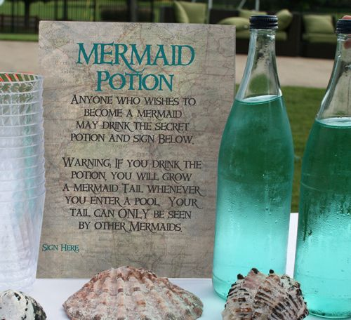 """Mermaid Potion:  This make-believe game has each girl at the party signs a contract that they are willing to become a mermaid.  They all drink the magic potion, and them jump in the pool together.  Their tales are invisible to """"humans"""" - only they can see each others' tails.  The contract is a great party keepsake for the birthday girl, too!"""