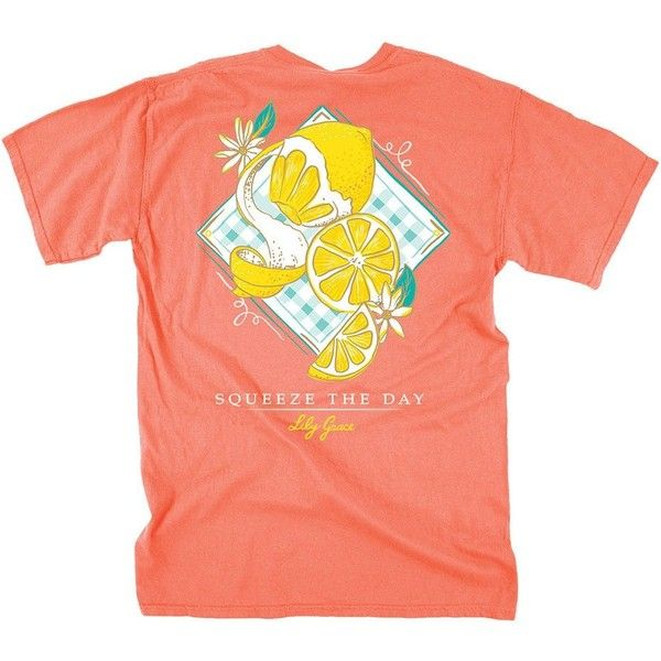 Squeeze the Day Tee in Neon Red Orange by Lily Grace ($30) ❤ liked on Polyvore featuring tops and t-shirts