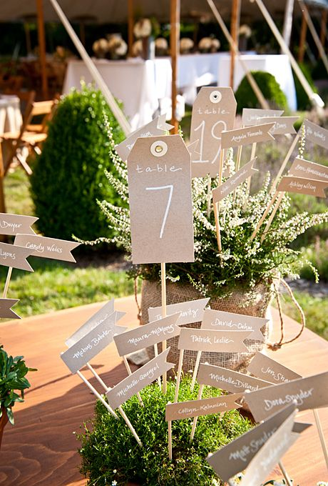 Brides.com: A Garden Party Wedding with DIY Details in the Hamptons. Seating cards were displayed in potted plants purchased at a near­by nursery.