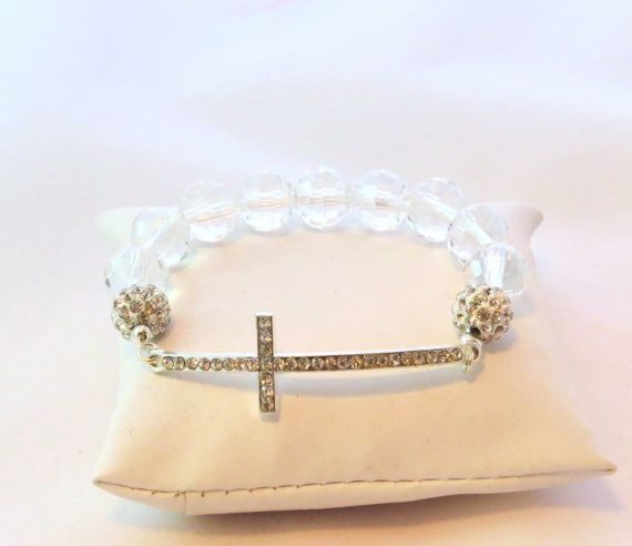 Girl's First Communion Gift Silver and Rhinestone SIDEWAYS Cross Bracelet, Confirmation Gift, Religious Bracelet, Religious Gifts, Christian