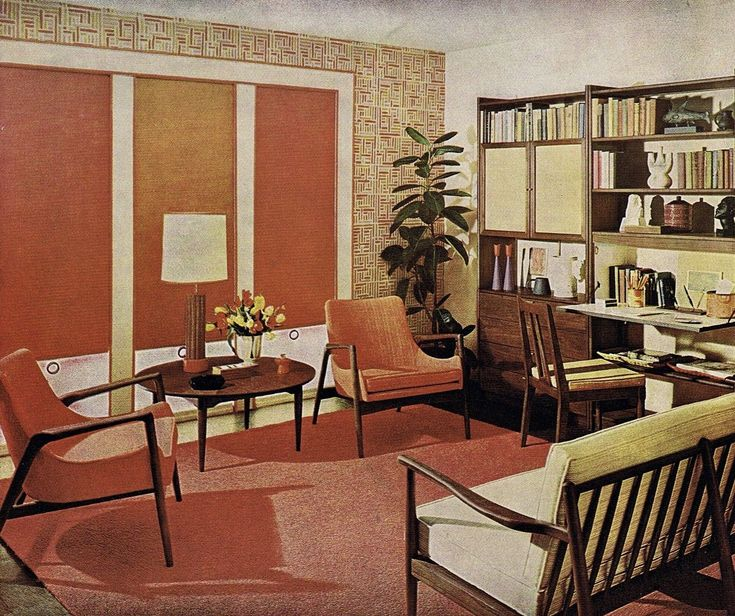 MCM office | Mid century living room, Mid century modern ...