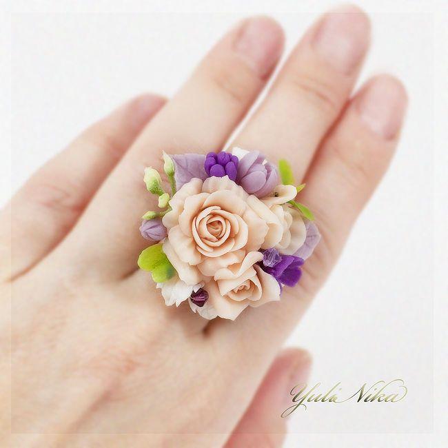 Купить Кольцо с  розами крем - чайные розы, кольцо с цветами, украшение для невесты, авторское кольцо