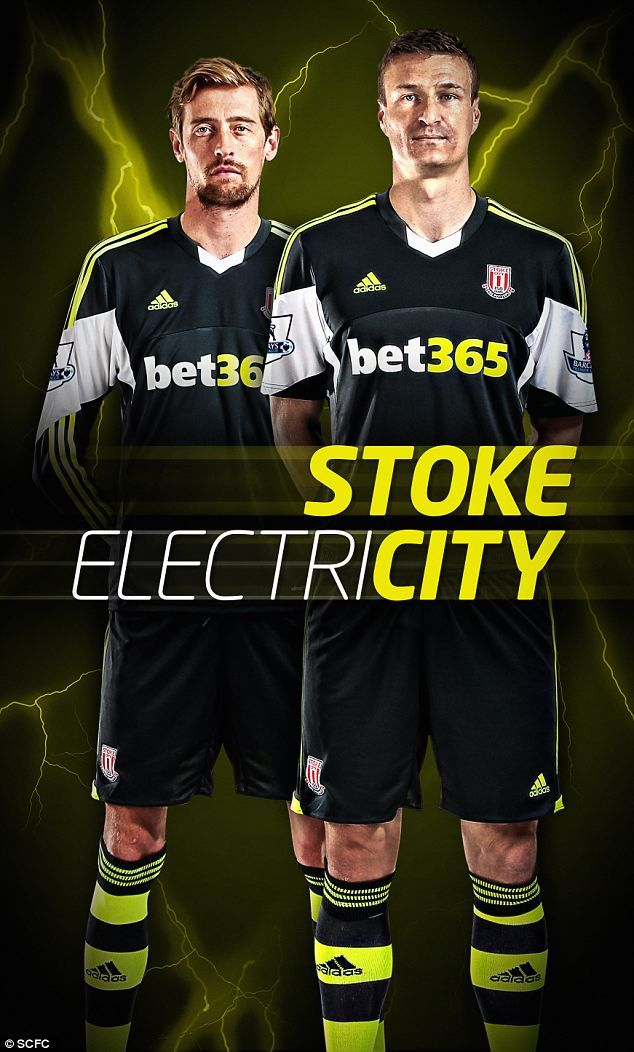 Striking: Peter Crouch and Robert Huth in Stokes new away kit