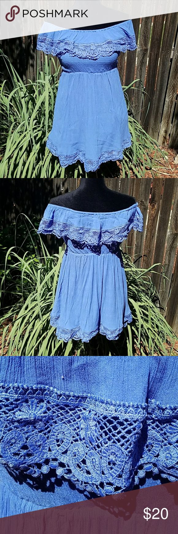 Missguided crochet trim bardot skater dress Cute skater dress in a light cheesecloth fabric.  Bardot neckline with crochet trim and crochet trim around the skirt.  Perfect casual summer dress in perfect like new condition! Missguided Dresses Mini