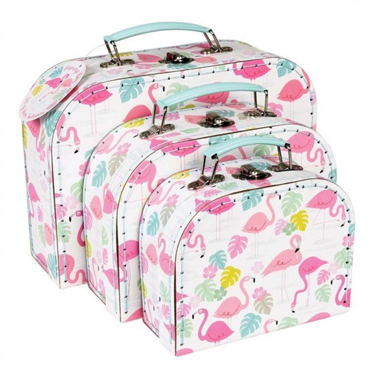 Βαλίτσες Set of 3 - Flamingo    Μεγάλη: 25.5 x 18 x 8cm  Μεσαία: 20 x 14.5 x 7.5cm  Μικρή:16 x 12.5 x 6.5cm