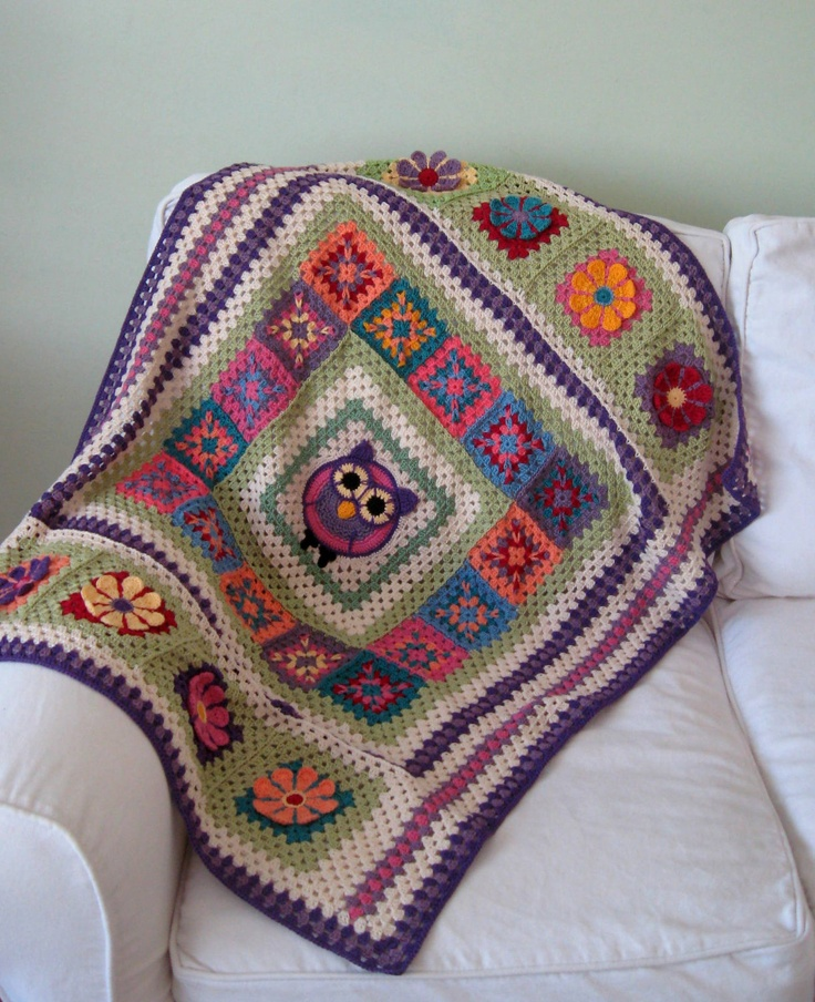 "MADE TO ORDER Handmade Crocheted Owl baby Children blanket afghan granny squares 30"" by 39"". $90.00, via Etsy."