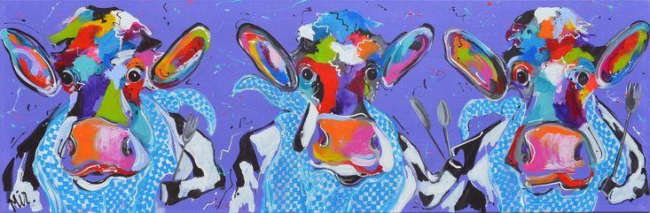 Dit is een: Acrylverf op doek, titel: 'Smulkoeien' kunstwerk vervaardigd door: Mirthe Kolkman