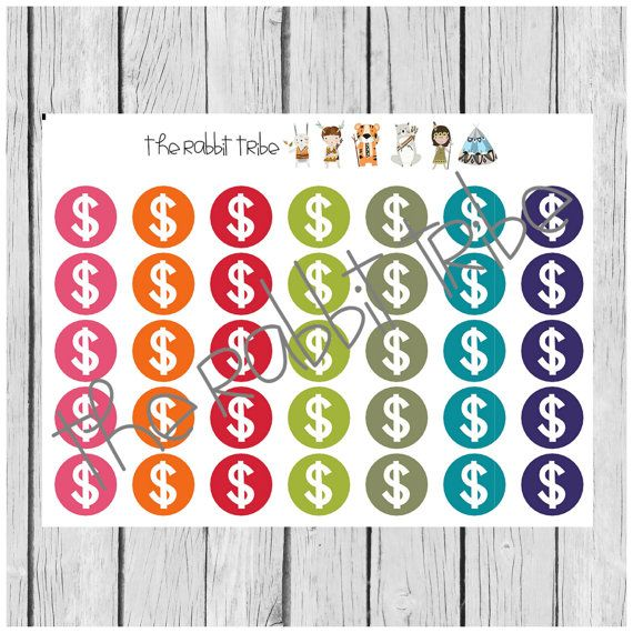 Daily Dots  money expenses stickers  planner stickers