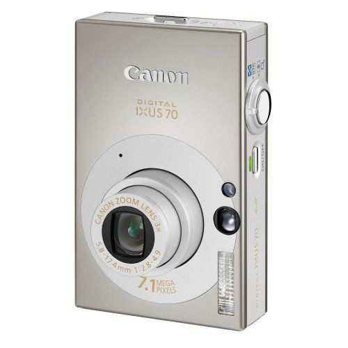 """Canon IXUS 70 Digital Camera - Silver (7.1MP, 3x Optical Zoom) 2.5"""" LCD by Canon. A must have for capturing those holiday memories. Love digital cameras as you can let children take the photo - you can see on screen so can help them line it up, & if the picture is rubbish you can just delete it. Jude & Annie use a camera like this in """"A Sunny Day""""."""