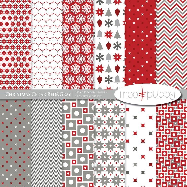 Christmas Digital Scrapbook Paper Pack and Clip Art- Christmas Cedar Red&Gray…