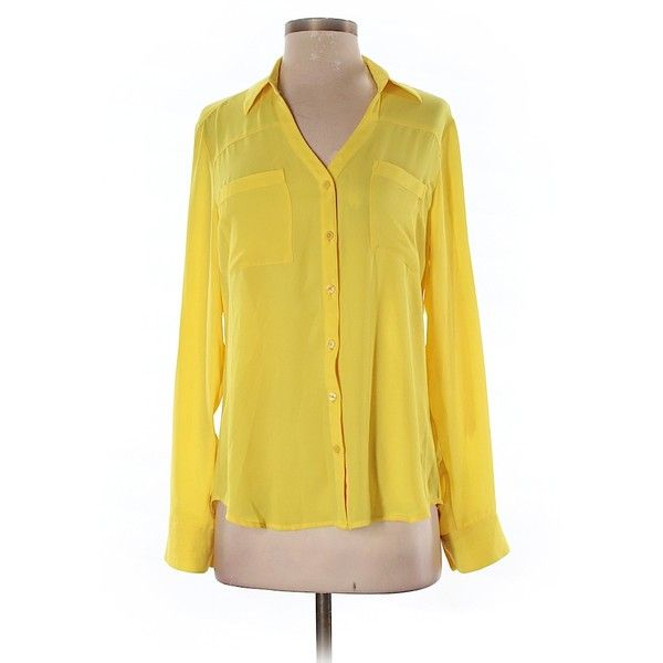 Pre-owned Express Long Sleeve Blouse Size 4: Yellow Women's Tops ($17) ❤ liked on Polyvore featuring tops, blouses, yellow, yellow long sleeve top, yellow top, long sleeve tops, long sleeve blouse and yellow blouse
