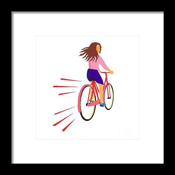 Retro Framed Print featuring the digital art Girl Riding Vintage Bicycle Retro by Aloysius Patrimonio