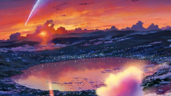 Your Name. Anime Scenery Art Comet Sunrise Clouds Wallpaper