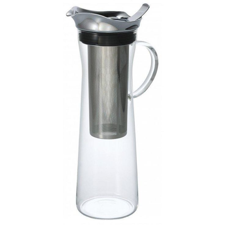 This Hario Cold Brew Coffee Pitcher is built with Hario's signature heat proof high borosilicate glass that's known around the world for its durability and clarity. The no-spill pouring lid is made of stainless steel and a silicone ring seals the pitcher shut.    Cold brew coffee really doesn't get any easier than immersion pitchers like this one from Hario.