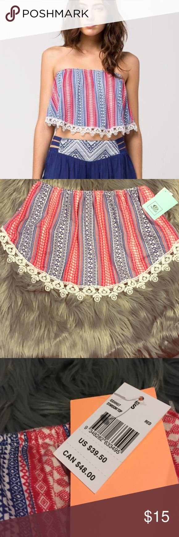 NWT RipCurl Bandeau ⭐️TOP RATED SELLER⭐️️NEXT DAY SHIPPINGPatriotic red, white and blue bandeau by RipCurl. Adorable white crochet lace at the bottom. Brand new! GREAT FOR THE BEACH  MSRP $40. Rip Curl Intimates & Sleepwear Bandeaus