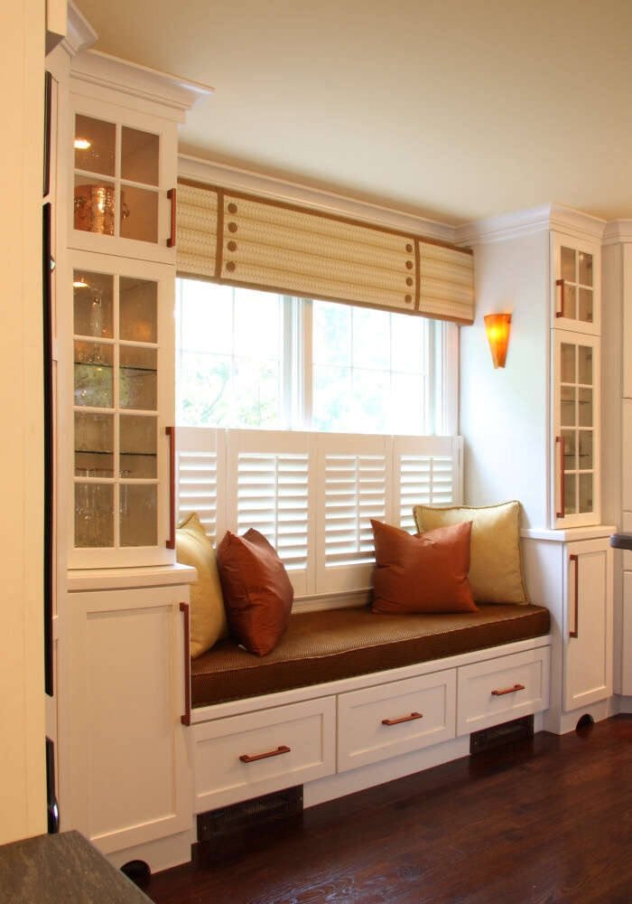 Interesting valance with cafe shutters