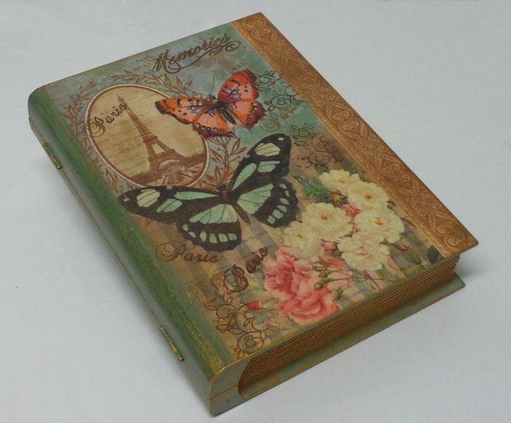 Caixa livro com decoupage