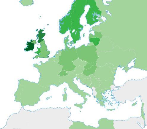 Täthet av i släktforskningssyfte mtDNA-testade moderlinjer i världen i november 2013