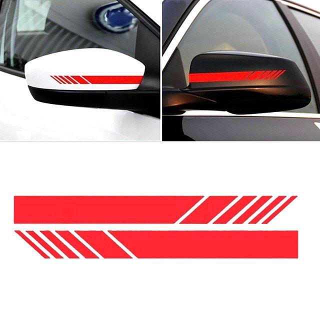 Car Accessories Rearview Mirror Carbon Fiber 5D Black Sticker Vinyl Stripe Decal