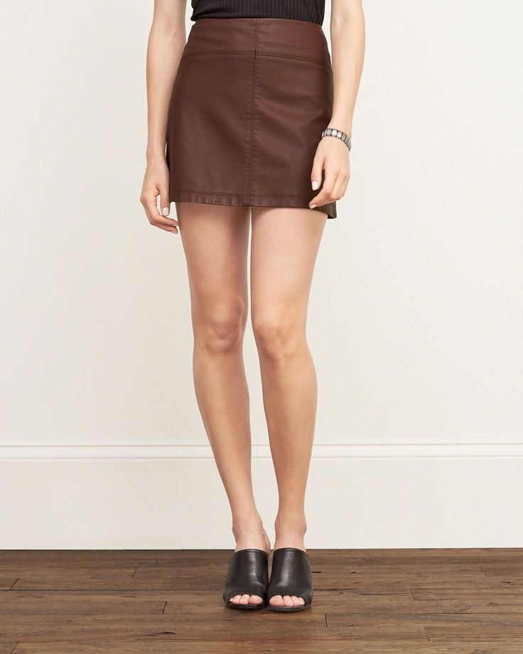 Womens Faux Leather A-Line Skirt | Add a flattering edge to your style with a faux leather piece in A-line silhouette, back zipper closure, Easy Fit | Abercrombie.com