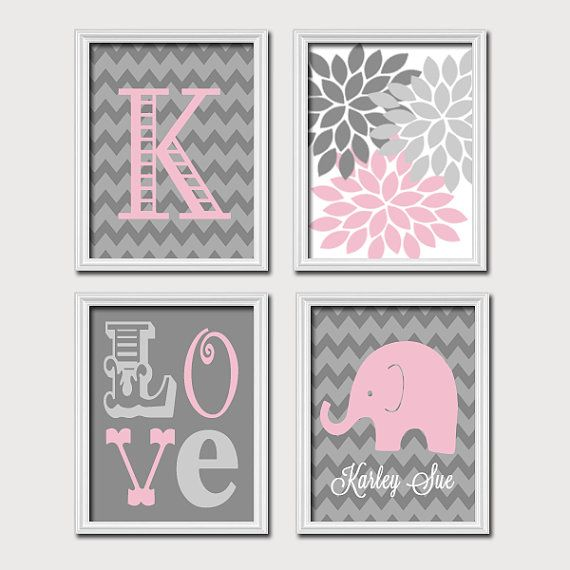 Elephant Pink Gray Wall Art Nursery Canvas Artwork Girl Child Monogram  Name Chevron Flower LOVE Set of 4 Prints   Baby Decor