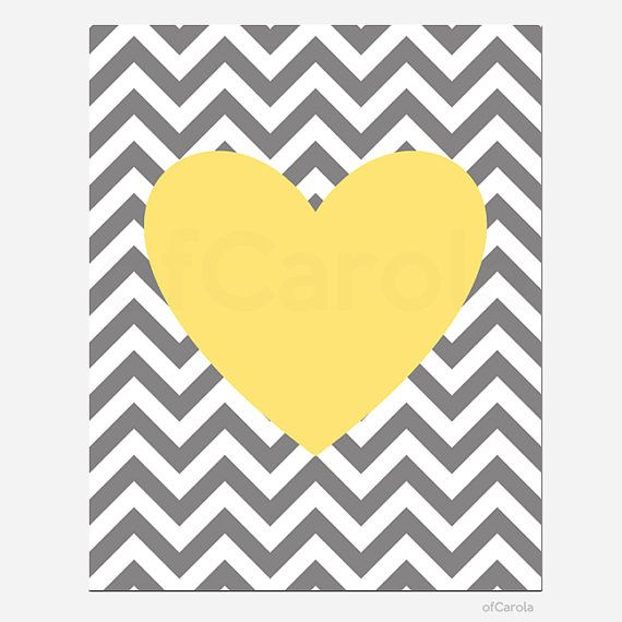 "Yellow Gray White Chevron Nursery Heart Wall Art Print, Boys Girls Kids Family Couple Love Home Room Decor Bold Heart Shape ofCarola 8x10"" on Etsy, $15.00"