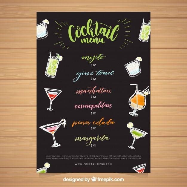 Lade Schwarze Cocktailkarte Vorlage Kostenlos Herunter In 2020 Cocktailkarte Cocktail Vorlagen