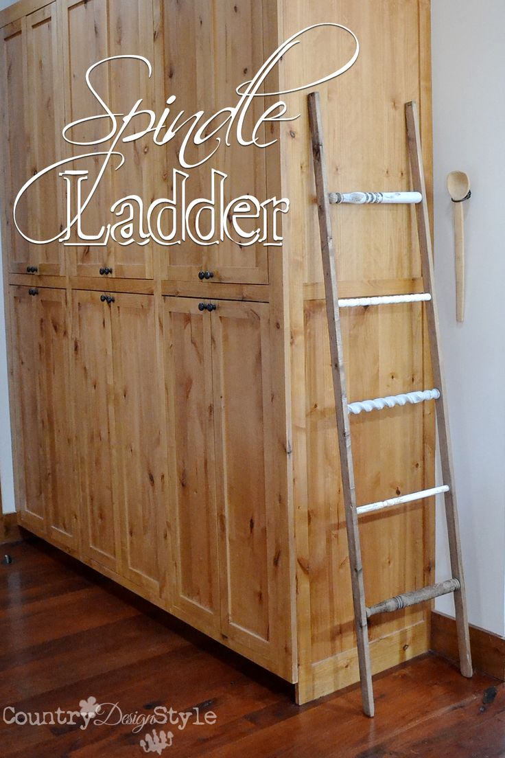 Using 5 broken spindles and two 1 by 2 boards I made a spindle ladder in a hour.  DIY project that was to hold scarves, but now??  http://countrydesignstyle.com