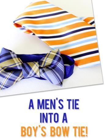 DIY mens tie into a boys bow tie  #howdoesshe #menstiebowtie #boysties howdoesshe.com