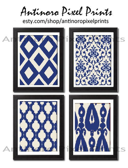 Wall Art Unframed Navy Creme (White) Ikat Vintage Modern Wall Art Print - Set of Four 8x11 Print Featured in Navy Cream. $45.00, via Etsy.