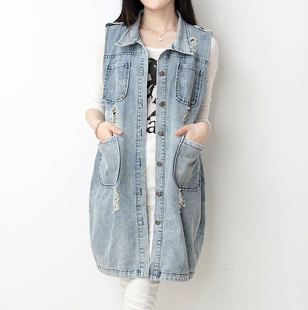 Summer 2017 Long Denim Vest Women Vintage Frayed Waistcoat Chaleco Plus Size Colete Jeans Feminino Gilet Femme Chalecos Mujer