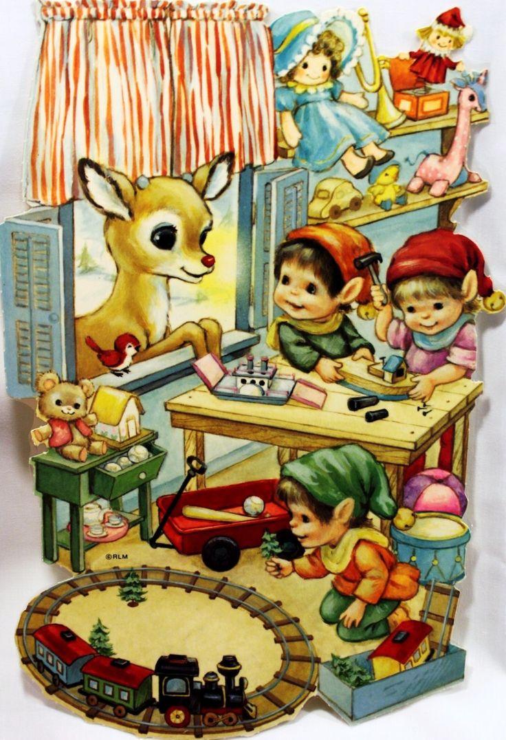 art, spot illustration, elf, reindeer, Rudolf, toy, interior, chrismas