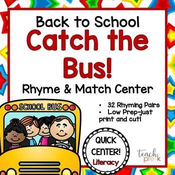 Back to School Catch the Bus Rhyming Literacy Center for PreK, K, & Homeschool