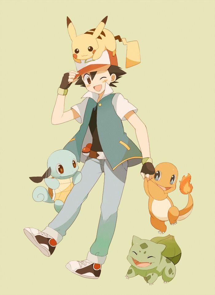Ash/Satoshi (Pokémon), Pikachu, Bulbasaur, Charmander, Squirtle (by May, Pixiv Id 233774)