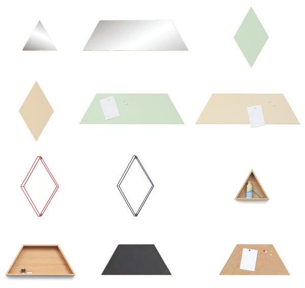 Elementiles wandelementen van Ontwerpduo voor Vij5. Spiegeltegels, magnetische tegels (in groen of geel), eiken wandkastjes, krijttegels en kurktegels vanaf €19 te koop bij Gimmii