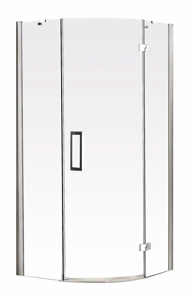 Aqualux Vibe douchecabine kwartrond 90x90x200cm rechts chroom - 1171125 - Sanitairwinkel.nl  gezien bij megadump nunspeet voor 595,-