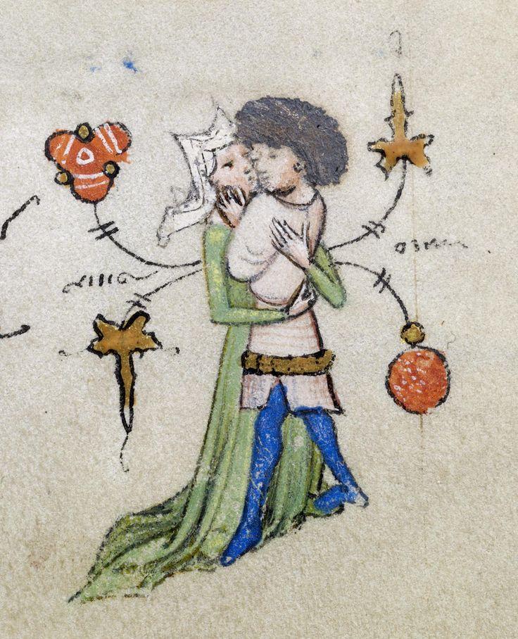 15. Master of Guillebert de Mets - Tender Embrace, Illuminated Manuscript…
